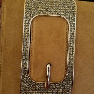 Gucci Bags - Gucci Suede Bianca Swarovski Crystal Buckle Clutch